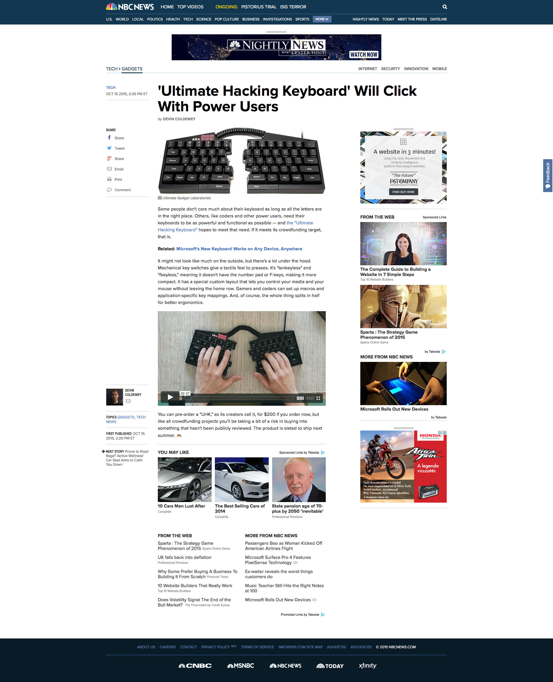'Ultimate Hacking Keyboard' Will Click With Power Users - NBC News